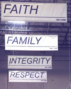 PacMoore values Faith Family Integrity Respect and Excellence